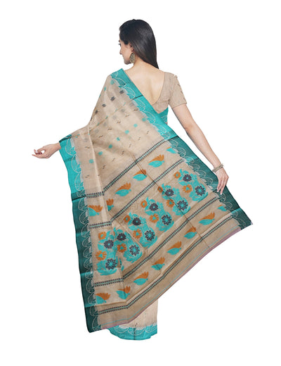 Beige and Blue Handloom Tussar Cotton Saree
