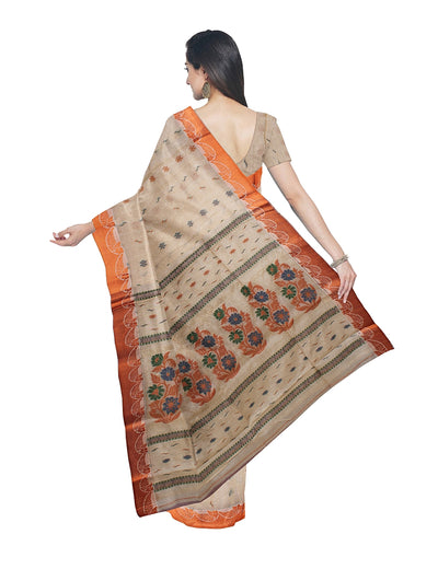 Beige and Orange Handloom Tussar Cotton Saree