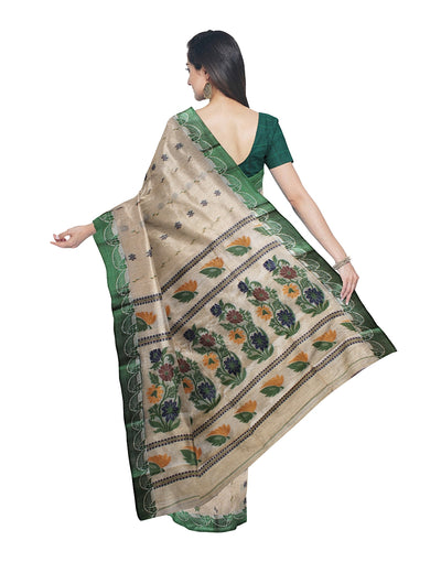 Green and Beige Handloom Tussar Cotton Saree