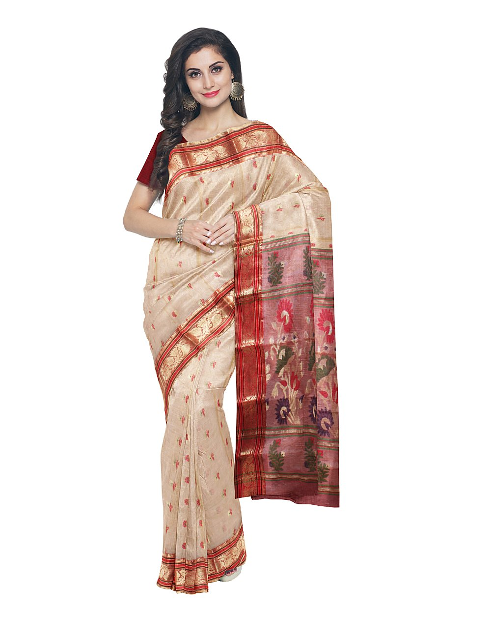 Handloom Beige and Red Tussar Cotton Saree