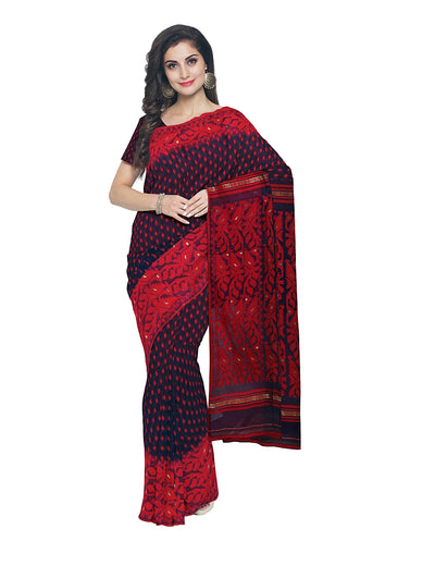 Navy and Red Handloom Bengal Jamdani Saree