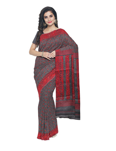 Grey and Red Handloom Bengal Jamdani Saree