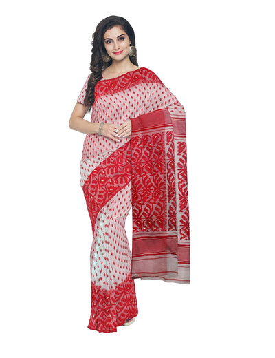 Bengal Jamdani White and Red Handloom Saree