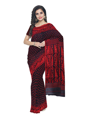 Bengal Black and Red Handloom Jamdani Saree