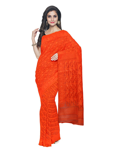 Orange Bengal Handloom Jamdani Saree