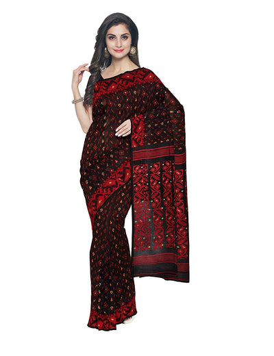 Black and Red Bengal Handloom Jamdani Saree