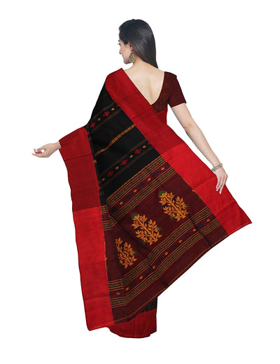 Bengal Handloom Blue and Brown Cotton Saree