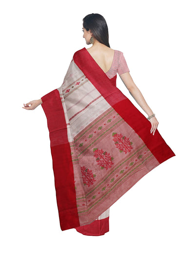 Bengal Handloom Off White Red Cotton Saree