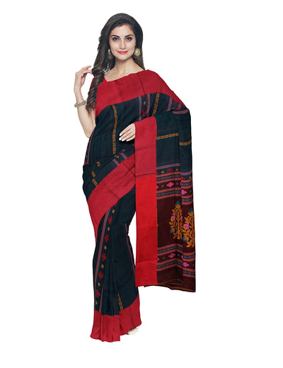 Blue and Brown Bengal Handloom Cotton Saree