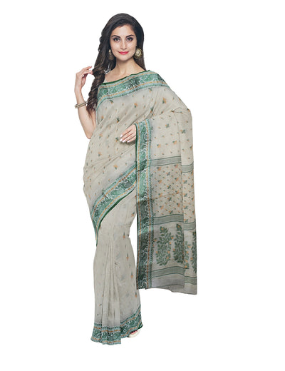 Beige Green Bengal Handloom Cotton Tant Saree