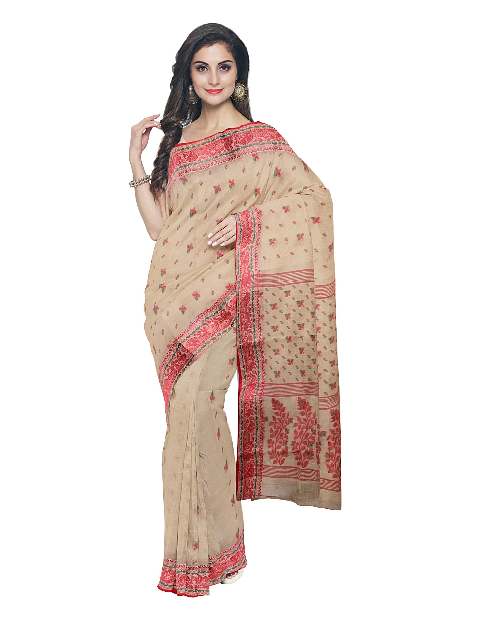 Bengal Handloom Beige Red Cotton Tant Saree
