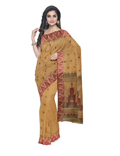 Bengal Handloom Brown Tant Cotton Saree