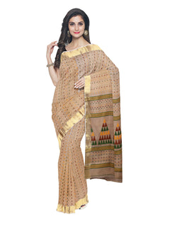 Bengal Handloom Beige and Gold Saree