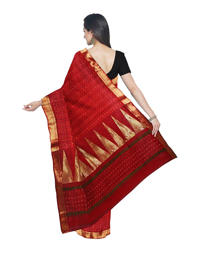 Bengal Handloom Red and Gold Saree