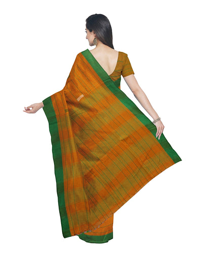 Orange Bengal Checks Handloom Cotton Saree