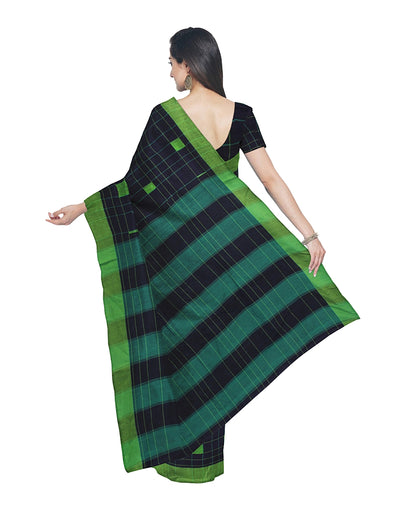 Dark Blue and Green Handloom Cotton Saree