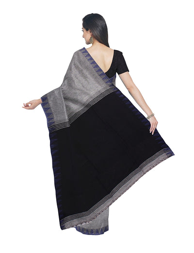 Handloom Grey and Black Bengal Cotton Saree