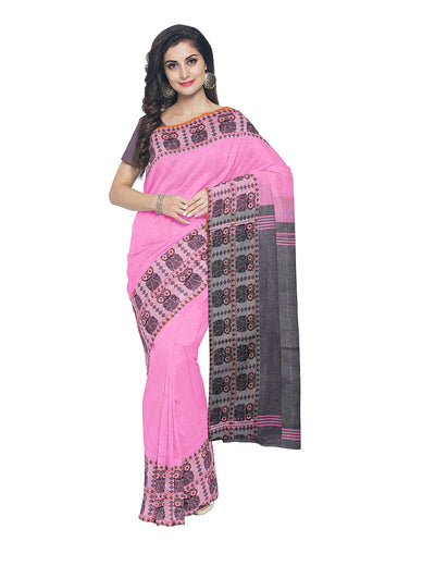 Pink and Grey Handloom Bengal Cotton Saree