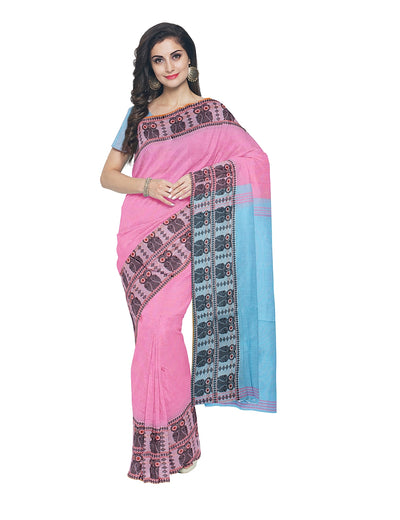 Pink and Blue Handloom Bengal Cotton Saree