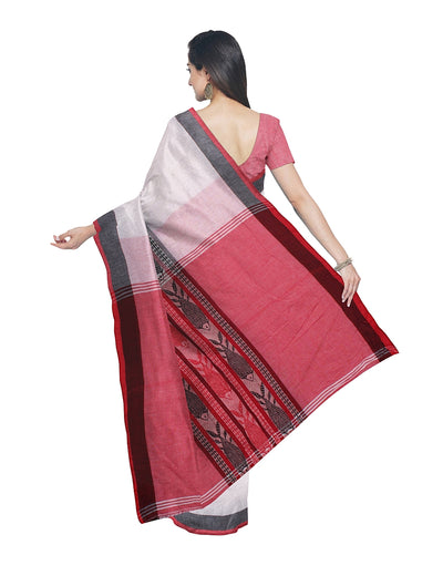 White and Red Handloom Bengal Cotton Saree