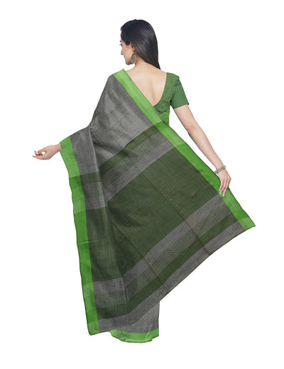Light Grey Green Handloom Bengal Cotton Saree