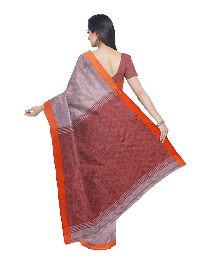 Pale Brown Handloom Bengal Cotton Saree