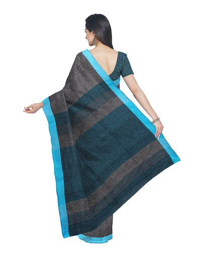 Grey Blue Handloom Bengal Cotton Saree
