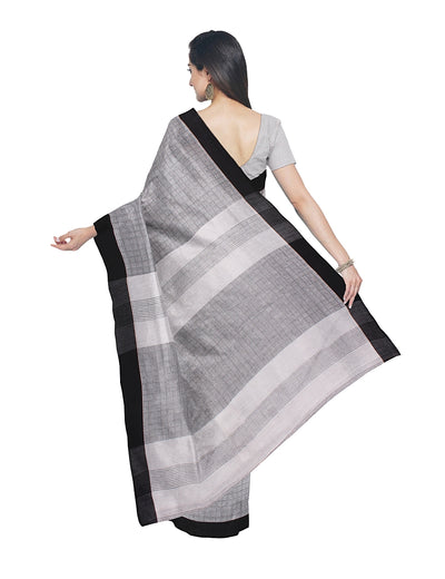 Grey White Handloom Bengal Cotton Saree