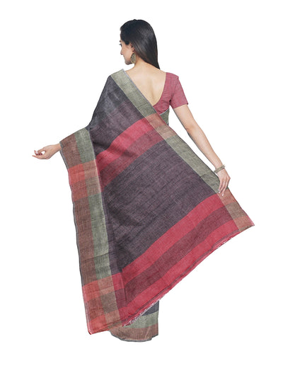 Handloom Bengal Cotton Grey Saree
