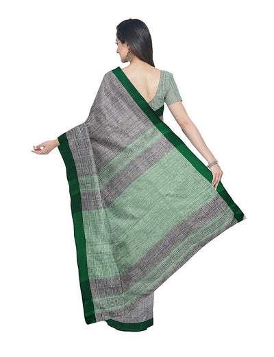 Light Grey Green Bengal Handloom Cotton Saree