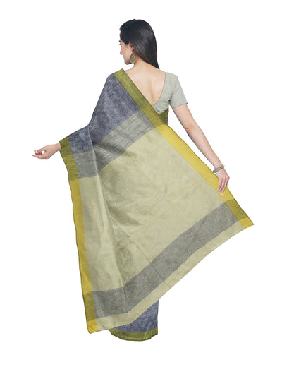 Grey Yellow Handloom Bengal Cotton Saree