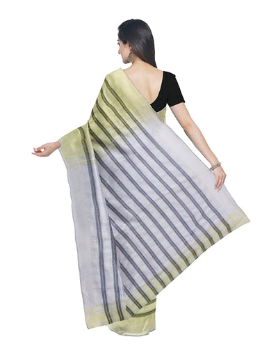 Yellow Stripe Handloom Bengal Cotton Saree