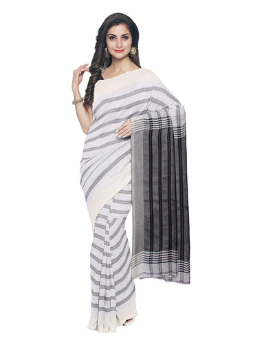 Off White Stripe Handloom Bengal Cotton Saree
