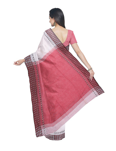 White and Red Bengal Handloom Cotton Saree