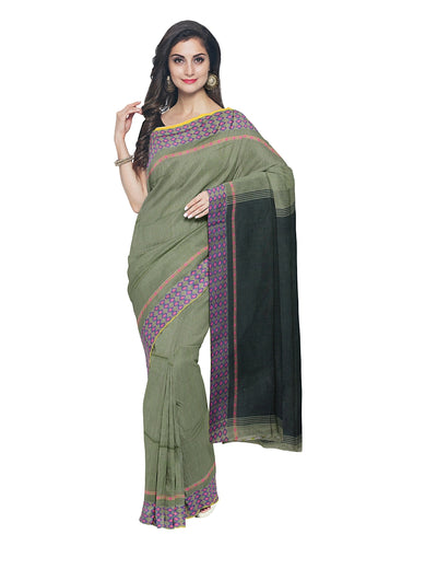 Olive Green Handloom Bengal Cotton Saree