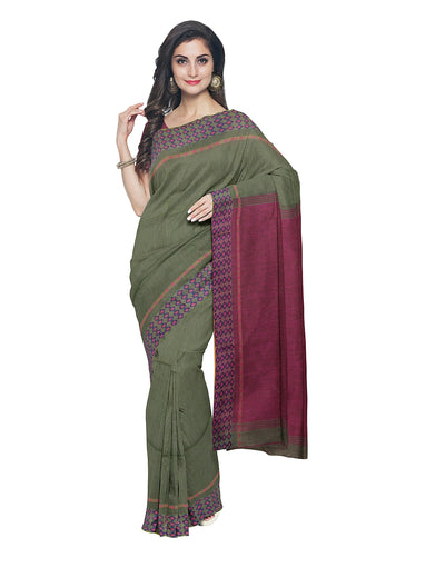 Olive and Pink Handloom Bengal Cotton Saree