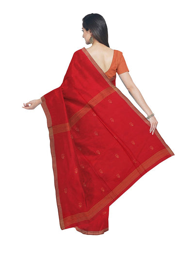 Bright Red Bengal Handloom Cotton Saree