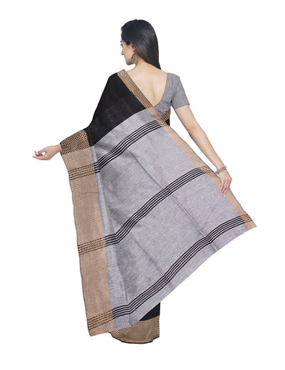 Black Grey Handloom Bengal Cotton Saree
