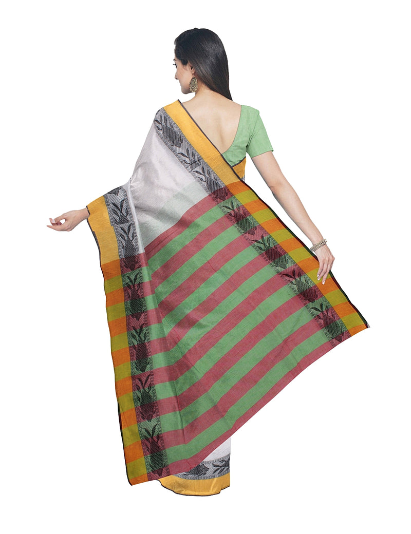 White Yellow Handloom Bengal Cotton Saree