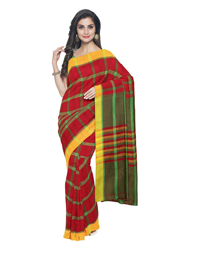 Red Green Checks Handloom Bengal Cotton Saree