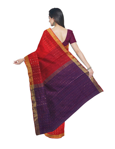 Bengal Red and Purple Sequin Handloom Saree