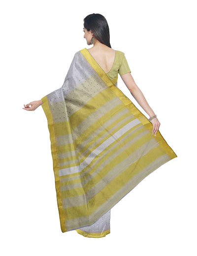 Bengal White Yellow Sequin Handloom Saree