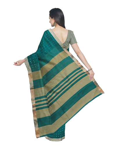 Bengal Teal Green Sequin Handloom Saree