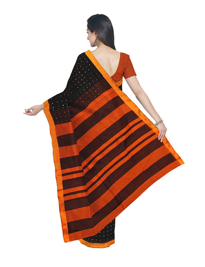 Black and Orange Sequin Bengal Handloom Saree