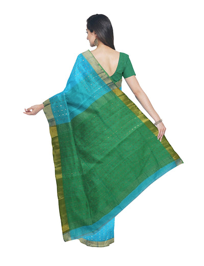 Bengal Blue and Green Sequin Handloom Saree