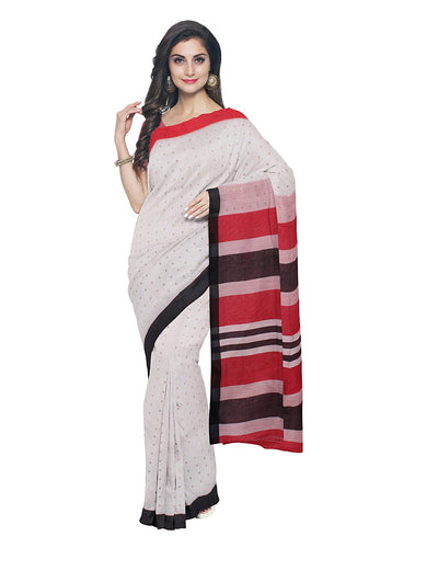 Bengal White Red Sequin Handloom Saree