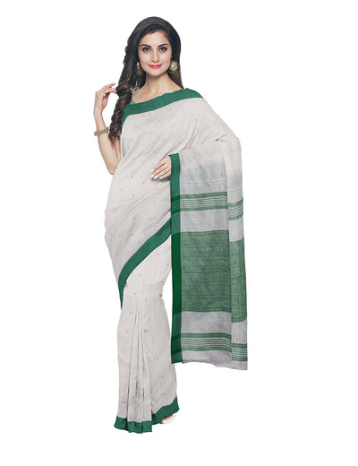 Bengal White Green Cotton Handloom Saree