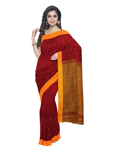 Maroon Brown Handloom Bengal Cotton Saree