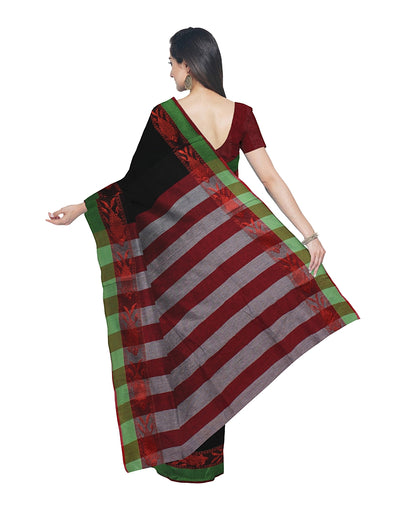 Black Red Green Handloom Bengal Cotton Saree
