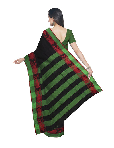Black Bengal Handloom Cotton Saree